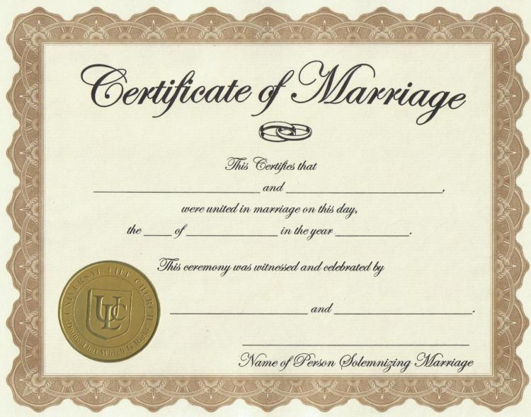 Certificate of Marriage